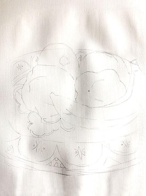 Pintar un bodegón al óleo - Figura a lápiz