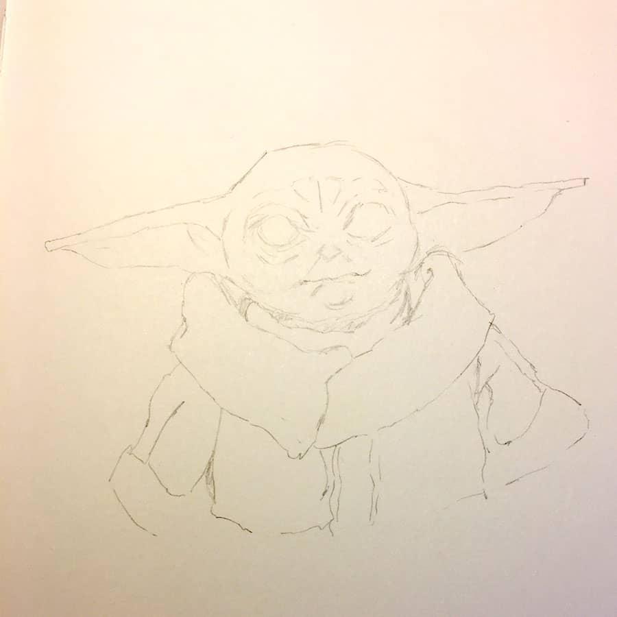 Pintar Acuarelas sobre lápiz: boceto