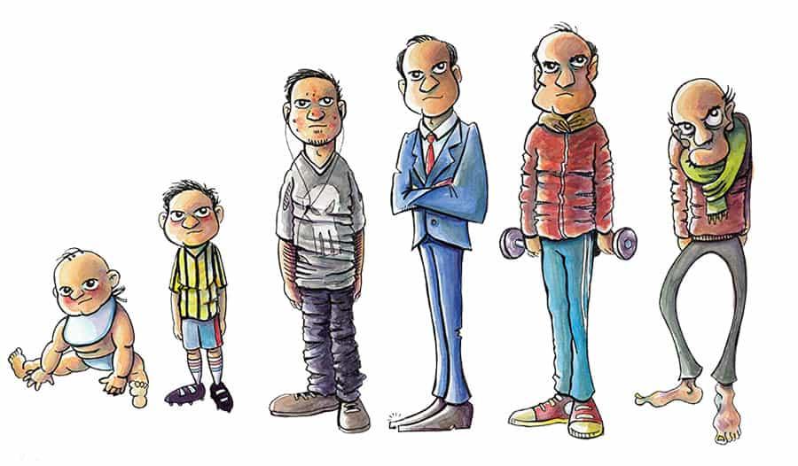 Personaje durante las 6 edades de su vida