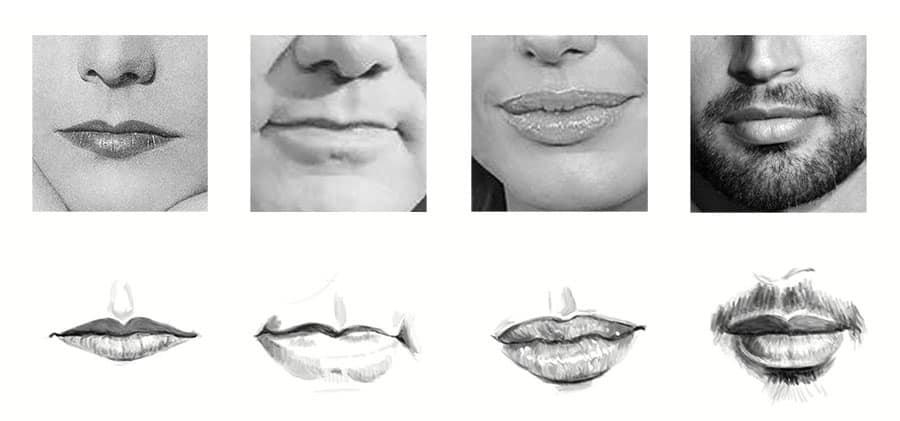Cómo dibujar bocas: distintas formas
