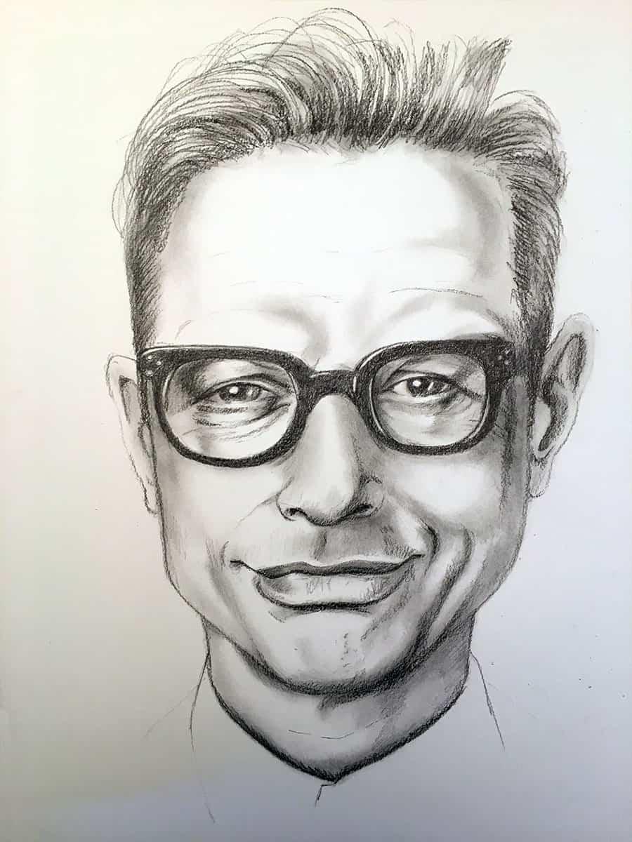 Retrato a lápiz de Jeff Goldblum